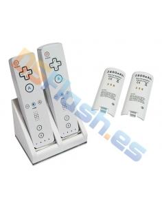 Cargador doble + 2 baterías para WiiMote (Blanco)