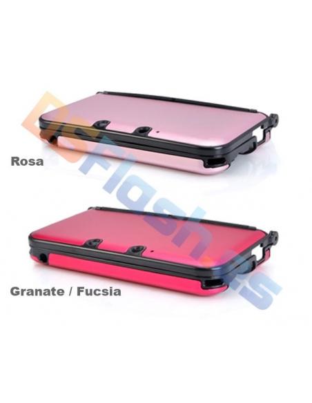 Carcasa Nintendo 3DS XL Protección de Aluminio Granate / Fucsia y Rojo