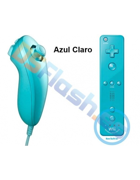 Mando WiiMote Plus + Nunchuk Compatibles Wii - Color: Azul Claro