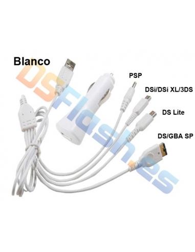 Imagen Cargador Coche y USB Nintendo 3DS blanco