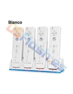 Cargador 4 mandos + 4 baterías WiiMote blanco